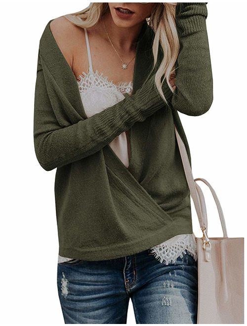 softome Womens Knitted Deep V-Neck Long Sleeve Wrap Front Loose Sweater Pullover Jumper Tops