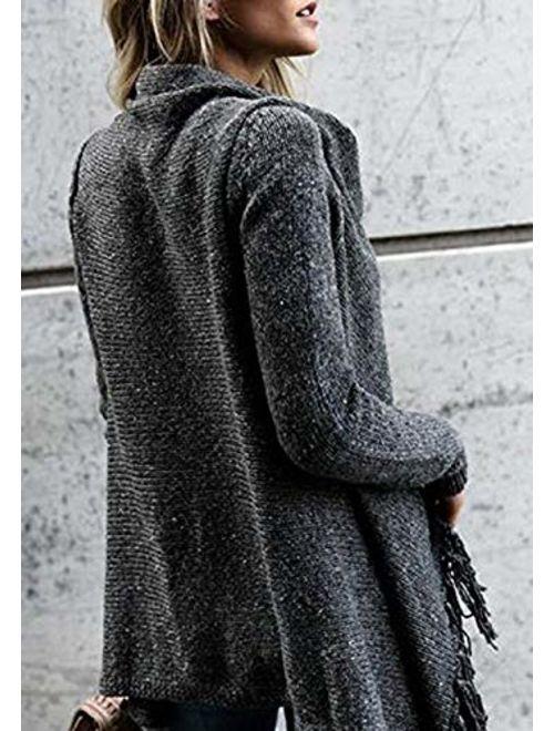 CEASIKERY Women's Tassel Hem Sweater Long Cardigan Knitwer Pullover Poncho Coat