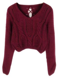 Women's Sweater Long Sleeve Eyelet Cable Lace Up Crop Top