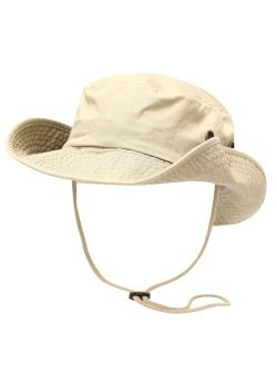 The Hat Depot 100% Cotton Stone-Washed Safari Wide Brim Foldable Double-Sided Sun Boonie Bucket Hat