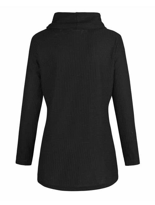 KILIG Womens Long Sleeve Button Cowl Neck Casual Knitted Wrap Pullover Lightweight Sweaters Shirt