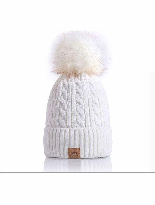 PAGE ONE Women Winter Pom Pom Beanie Hats Warm Fleece Lined,Chunky Trendy Cute Chenille Knit Twist Cap