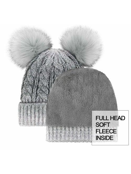 Arctic Paw Women Winter Cable Knit Fleece Lined Warm Pom Pom Beanie Hat