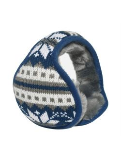 Mraw-Adjustable Winter Earmuff- Back Worn Ear Warmer-Snowflake Pattern-Foldable