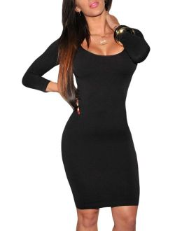 LaSuiveur Women's Crewneck 3/4 Sleeve Spandex Stretchy Fitted Bodycon Club Dress
