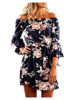 SVALIY Women Off Shoulder Ruffles Floral Tunic Casual Party Shift Short Dress