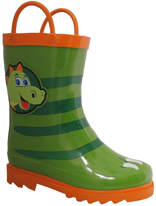Puddle Play Toddler and Kids Waterproof Rubber Fire Rain Boots Easy-On Handles Toddler//Little Kids