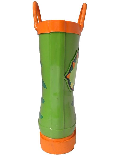Puddle Play Kids Boys' Dinosaurs Printed Waterproof Easy-On Rubber Rain Boots (Toddler/Little Kids)