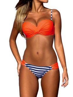 Women's Two Piece Bikini Set Bandeau Top Scoop Bottom Swimsuits Bathing Suits Five Color Size S-xl