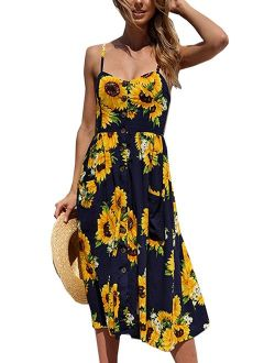 Halife Women's Summer Dresses Casual Spaghetti Strap Button Down Floral Midi Dress with Pockets