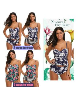 Women's Summer Sexy Beach Tankini Swimsuit High Waisted Floral Printed Bathing Suit Ladies Holiday Fashion Swimwear with Reversible Bottom Pool Swimsuit 2 Ways to Wear