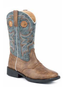 roper boys' daniel distressed saddle vamp cowboy boot square toe - 09-018-1224-2201 br
