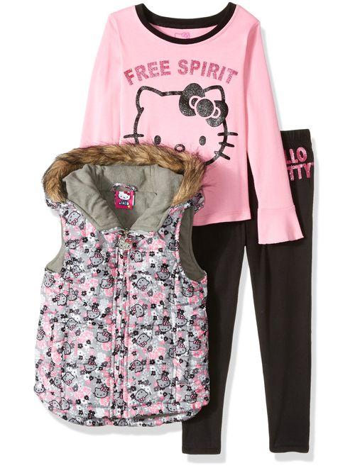 Hello Kitty Girls' Baby 3 Piece Tee, Vest, and Legging Set