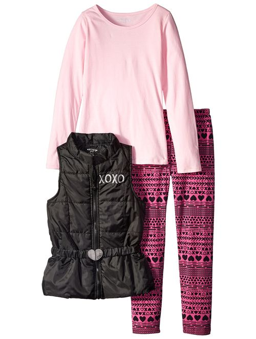 XOXO Big Girls' Vest, T-Shirt, and Legging Three-Piece Set