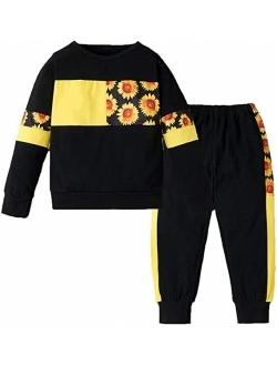 LZH Toddler Girls Clothes Tracksuit Floral Print Outfits Coat Pants Suit