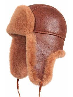 Zavelio Unisex Shearling Sheepskin Leather Aviator Russian Ushanka Trapper Winter Fur Hat