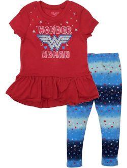 Warner Bros. Wonder Woman Girls' Fashion Tunic Top & Leggings Clothing Set