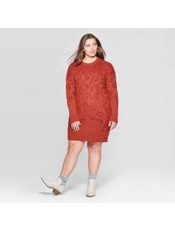 E Leopard Print Long Sleeve Crewneck Sweater Dress - Universal Thread