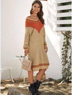 Chevron Print Side Split Sweater Dress