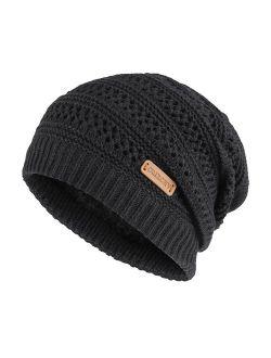 OMECHY Slouchy Beanie Hats Unisex Daily Knit Skull Cap Winter Warm Fleece Soft Baggy Hat Ski Cap