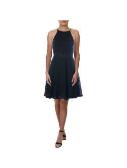Aqua Womens Navy Eyelet High Neck Casual Mini Dress S BHFO 8899