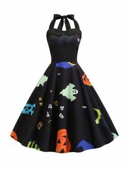 KENANCY Women Round Neck Retro Rockabilly Vestido Vintage Dress 50's 60's Rockabilly Bandage