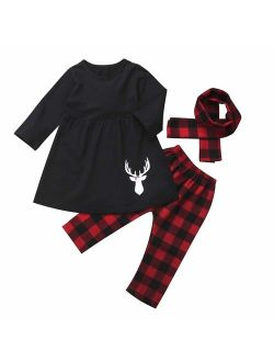 3Pcs/Set Kids Toddler Baby Girl Christmas Outfits Long Sleeve Top Dress Pants with Headband or Scarf