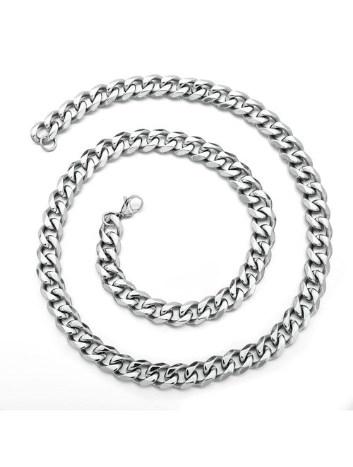18k Real Gold Plated Curb Cuban Chain Necklace Stainless Steel Link Necklace for Men Women 6mm to 11mm 16 Inches to 36 Inches