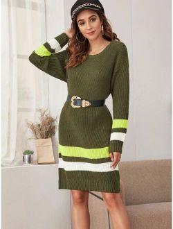 Drop Shoulder Striped Sweater Dress Without Belt