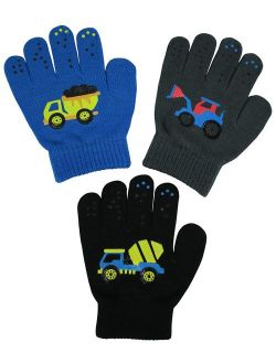 N'Ice Caps Boys Girls Magic Stretch Gloves 3 Pair Pack Assortment