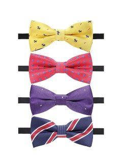AUSKY 4 Packs Adjustable Pre-tied Bow Tie for Infant baby boys Toddler Child Kids in Different style color