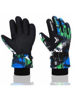 Ski Gloves, RunRRIn 100% Waterproof Warm Snow Gloves for Mens, Womens, and Kids