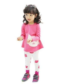 Upopby Cute Baby Girls Clothes Pants Sets Cartoon 2pcs Top and Legging Outfits