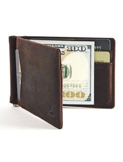 YBONNE Mens New Slim Wallet with Money Clip Front Pocket RFID Blocking Bifold Leather Card Holder Minimalist Mini Billfold Gift Box