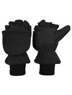 Toddlers Kids Warm Knitted Full Finger Gloves Magic Stretch Mittens Plush Lined Ski Gloves Mittens with Fluffy Wrist Cuffs