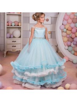 ABAO Girls Floor-Length Elegant Wedding Party Tulle Ball Gown Evening Dress