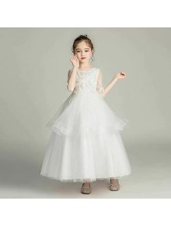 First Communion Dresses Ball Gown For Girls O-Neck 3/4 Sleeve Bow Sashes Flower