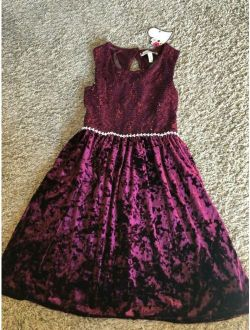 Speechless Girls Velvet Maroon Dress - Girls Size 12