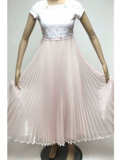 Pink Swiss Dot Flocked Dress Pageant Church Modesty Maxi Beautique Pleated Sz 14