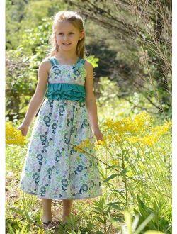 Beautiful Girls Party Dress Ruffles Twirly Skirt Peticoat Summer Floral 17733