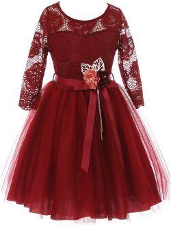 Little Girls Long Sleeve Girls Dress Floral Lace Roses Corsage Christmas Flower Girl Dress Burgundy 4 (J20KS98)