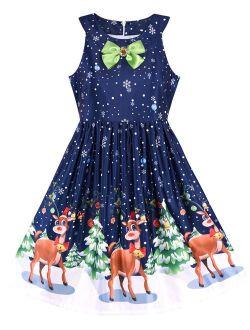 Girls Dress Christmas Eve Christmas Tree Snow Reindeer Party 7