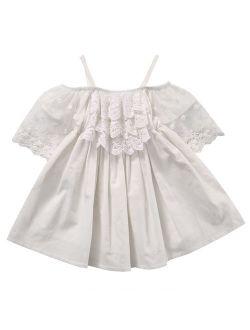 Little Girls Lace Short Sleeve Off shoulder Medi strap Dress Princess Party Holiday Tutu Dresses Skirt