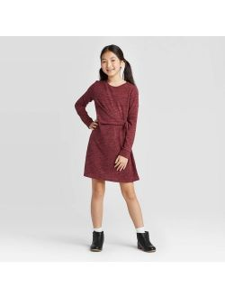 Girls' Long Sleeve Cozy Tie Knot Dress - art class Burgundy