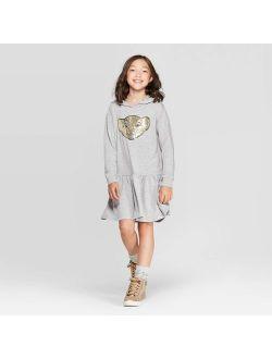 Girls' The Lion King Nala Sequin Hooded Dress - Heather Gray