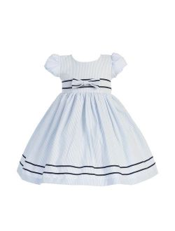 Light Blue Stripe Short Sleeve Seersucker Easter Dress Girls 3M-4T