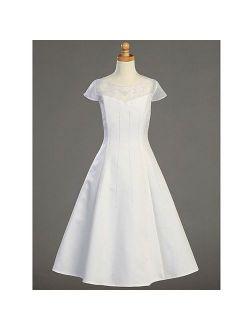 Plus Size Girl White Tea Length First Communion Dress 10.5