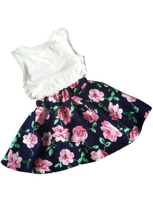 Jastore Girls Letter Love Flower Clothing Sets Top+Short Skirt Kids Clothes