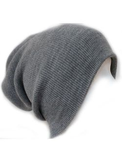 Slouchy Beanie Slouch Skull Hat Ski Hat Snowboard Hat Ribbed Beanie,One Size,Light Grey