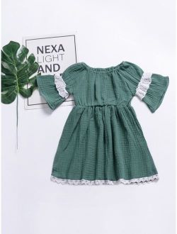 Toddler Girl Lace Panel Dress